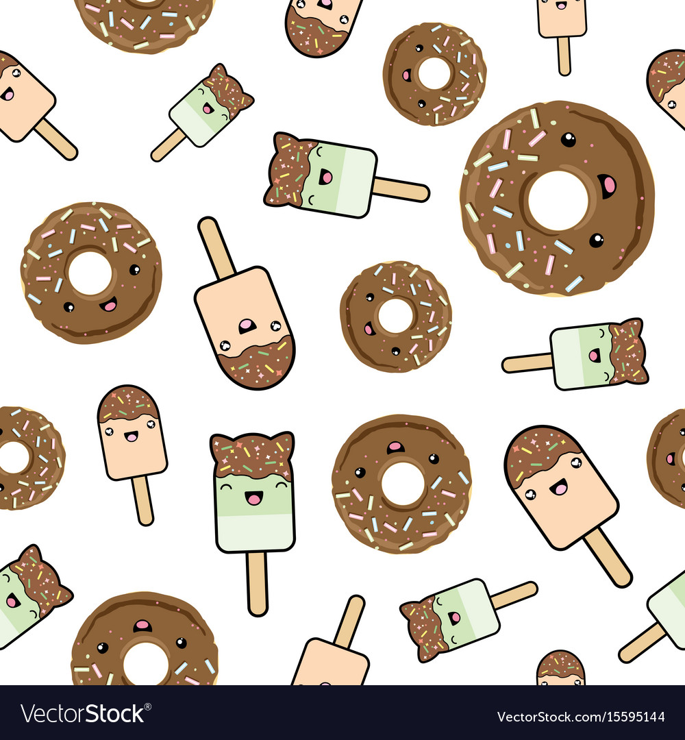 Seamless pattern cute kawaii styled ice cream and