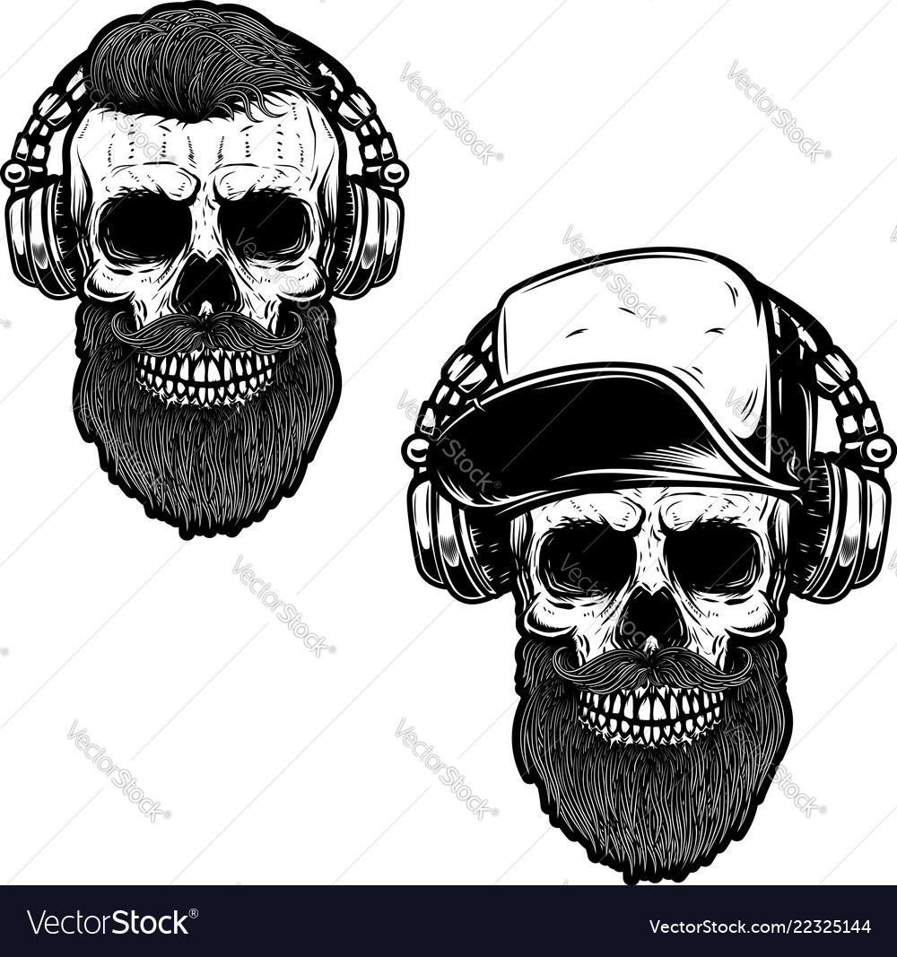 Set of bearded skull in headphones design element