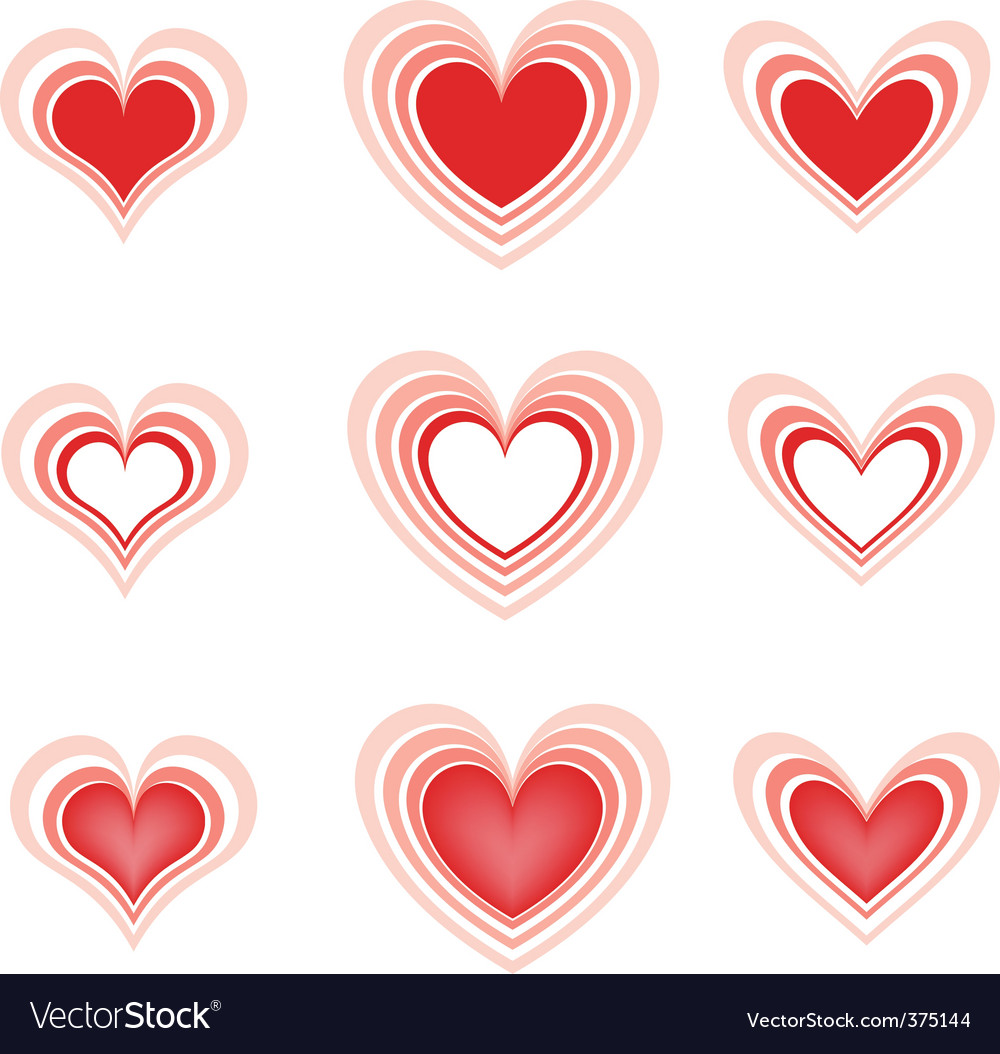 Set of the beautiful hearts2 vector