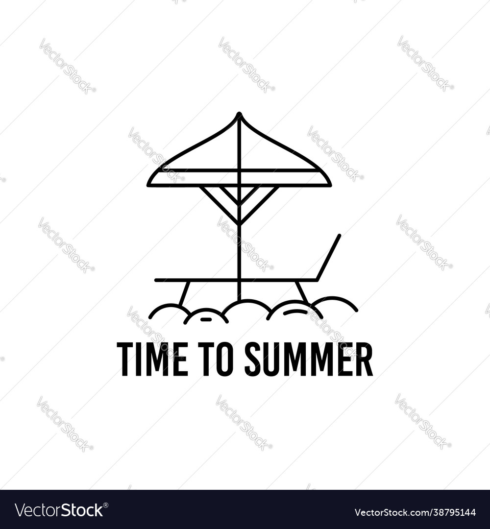 Summer concept linear design with beach