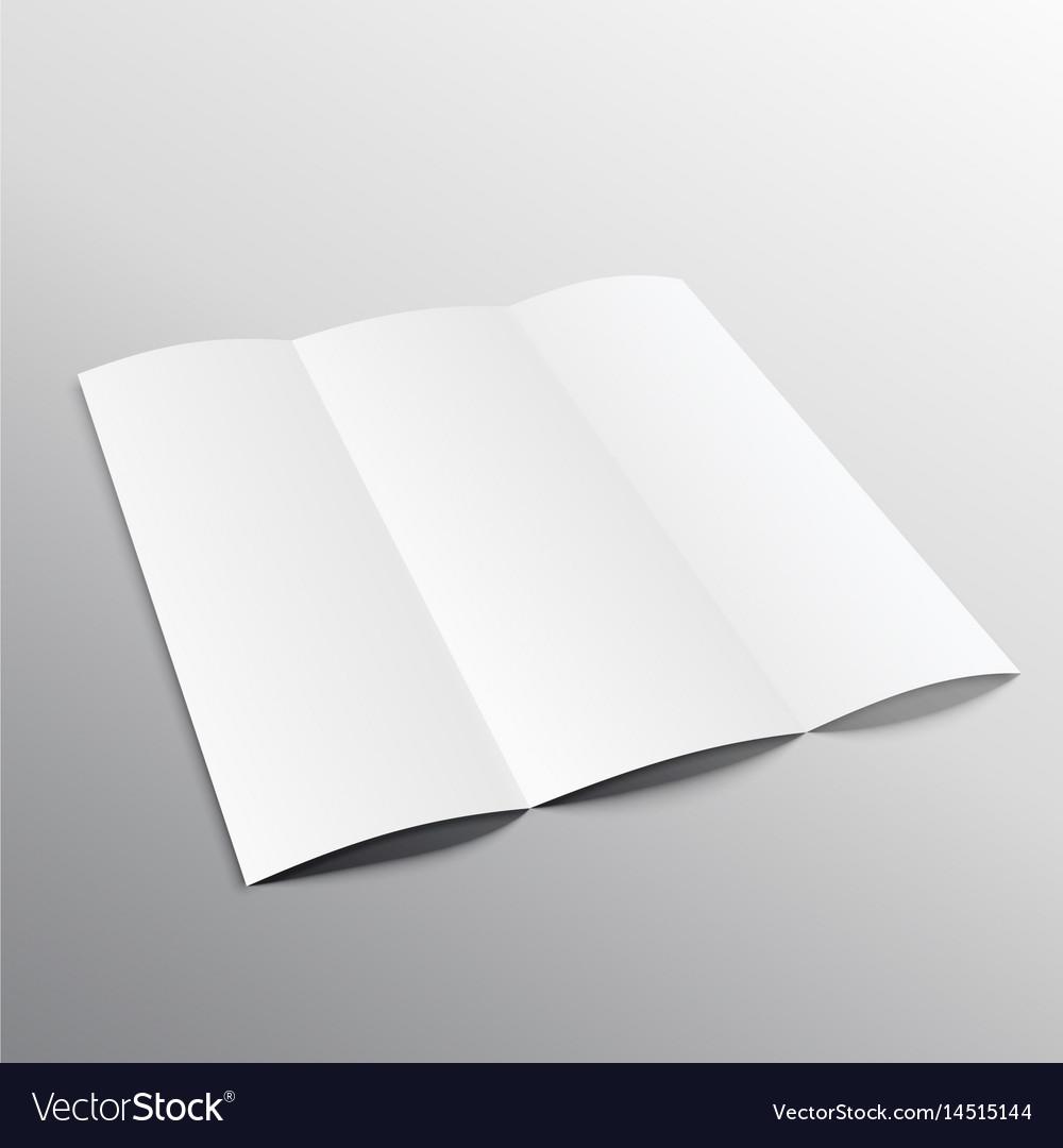 trifold blank brochure mockup design in vector image