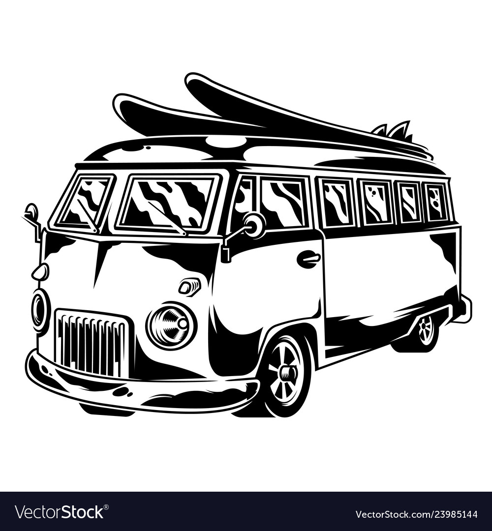 1fca32abc7 Vintage surf car Royalty Free Vector Image - VectorStock