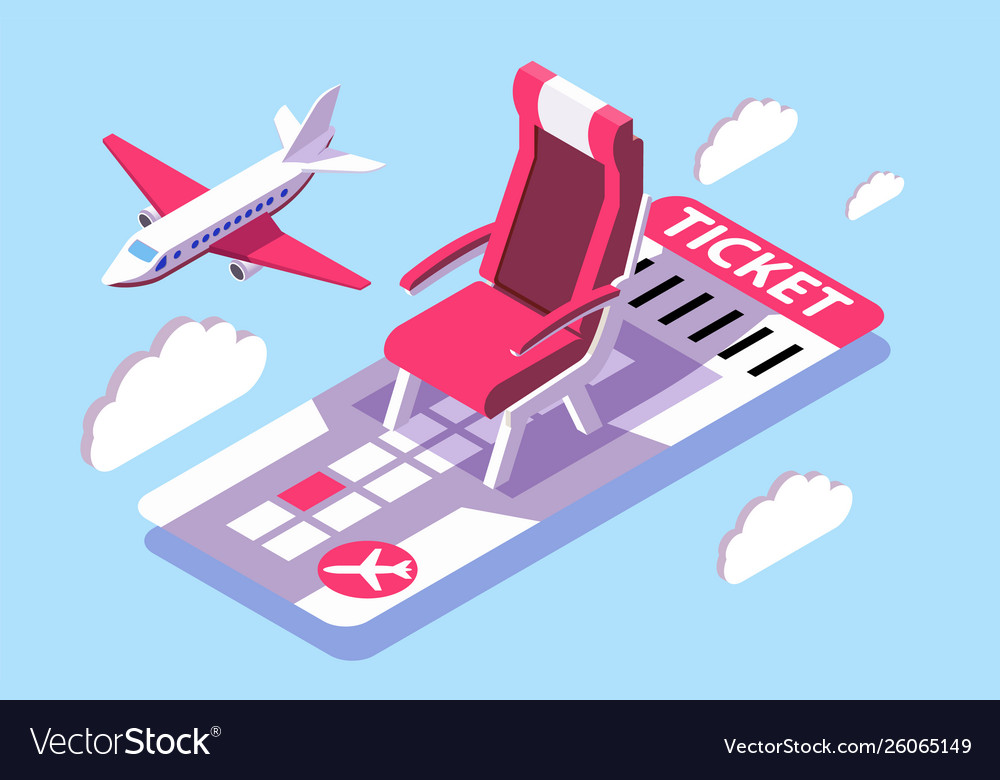 3d isometric ticket for air flight in sky