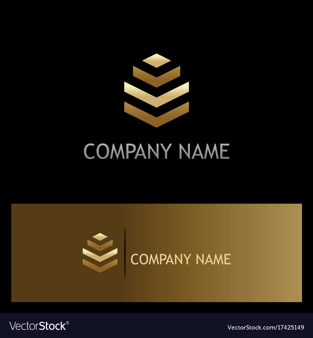 Abstract gold building company logo