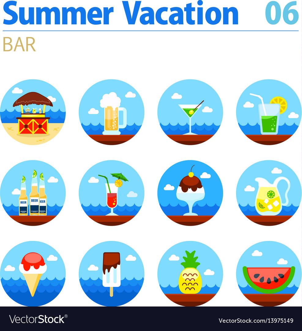 Bar beach icon set summer vacation