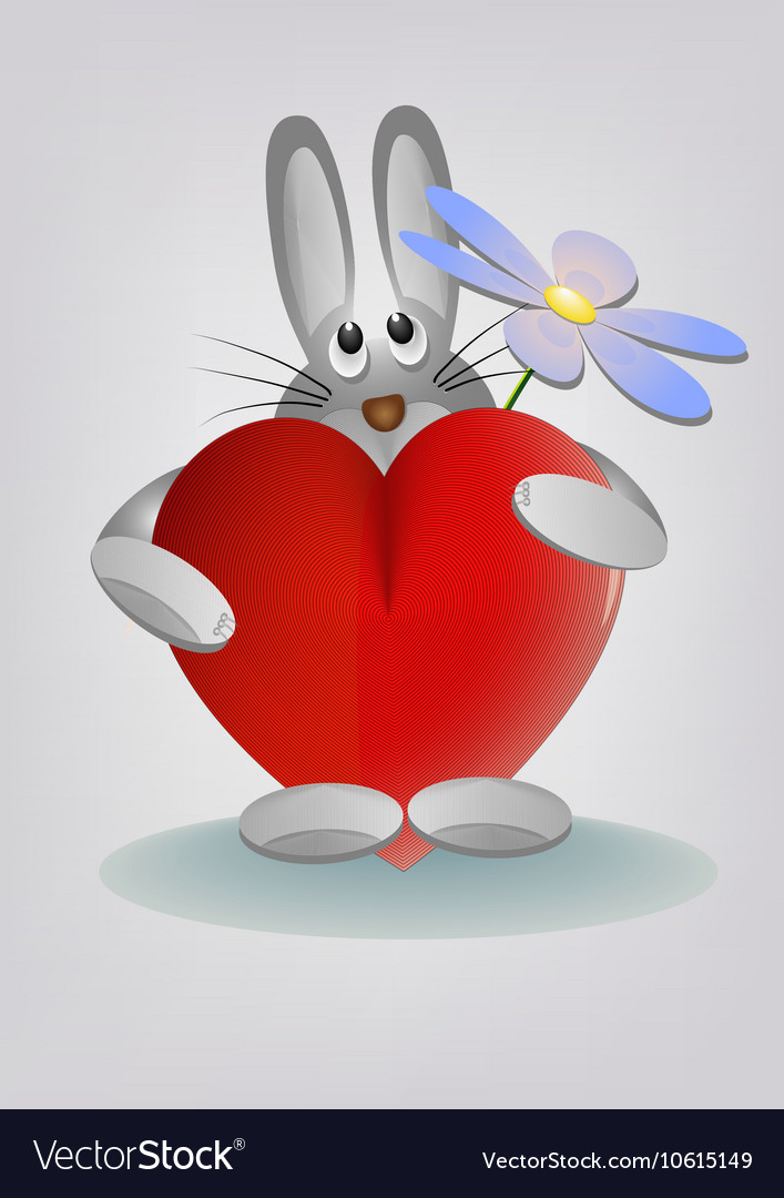 Bunny holding heart and flower