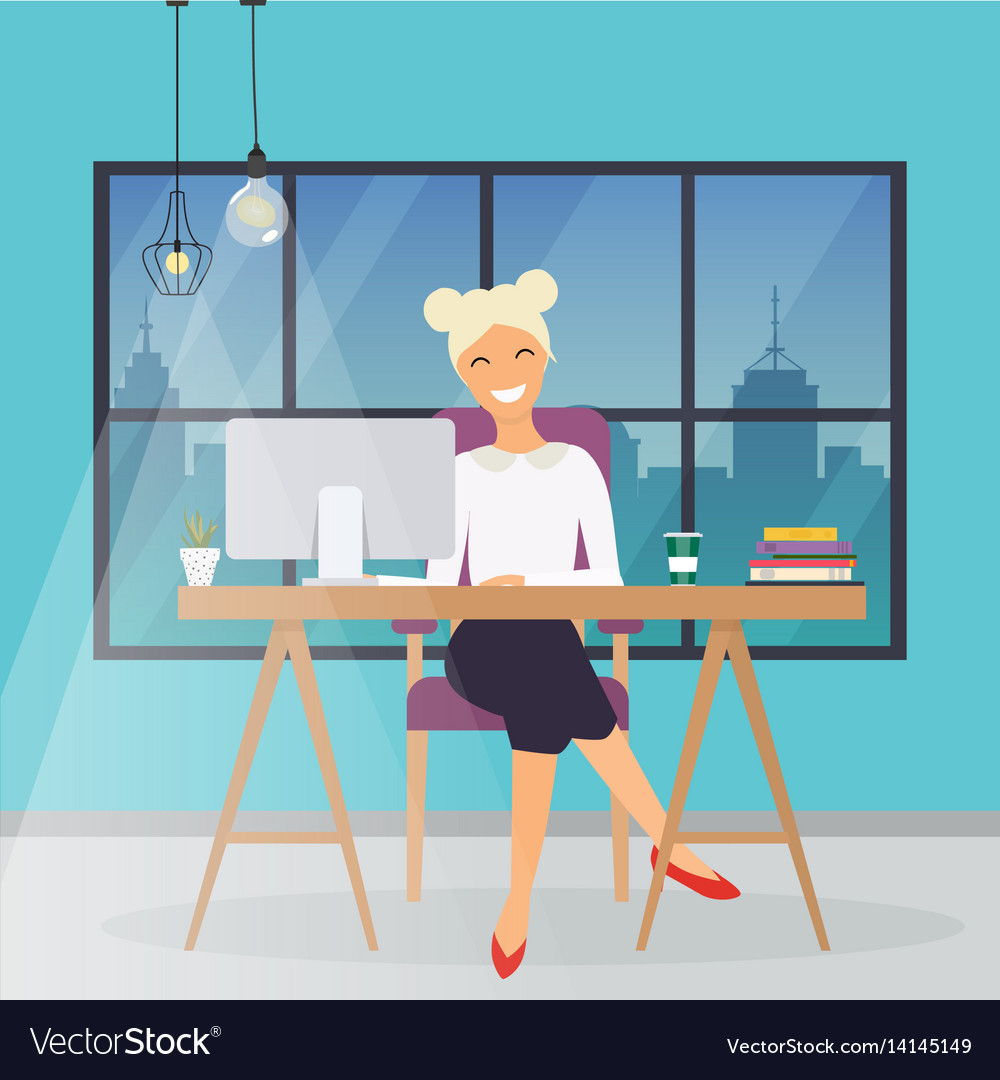 Business woman working at his office desk flat vector image