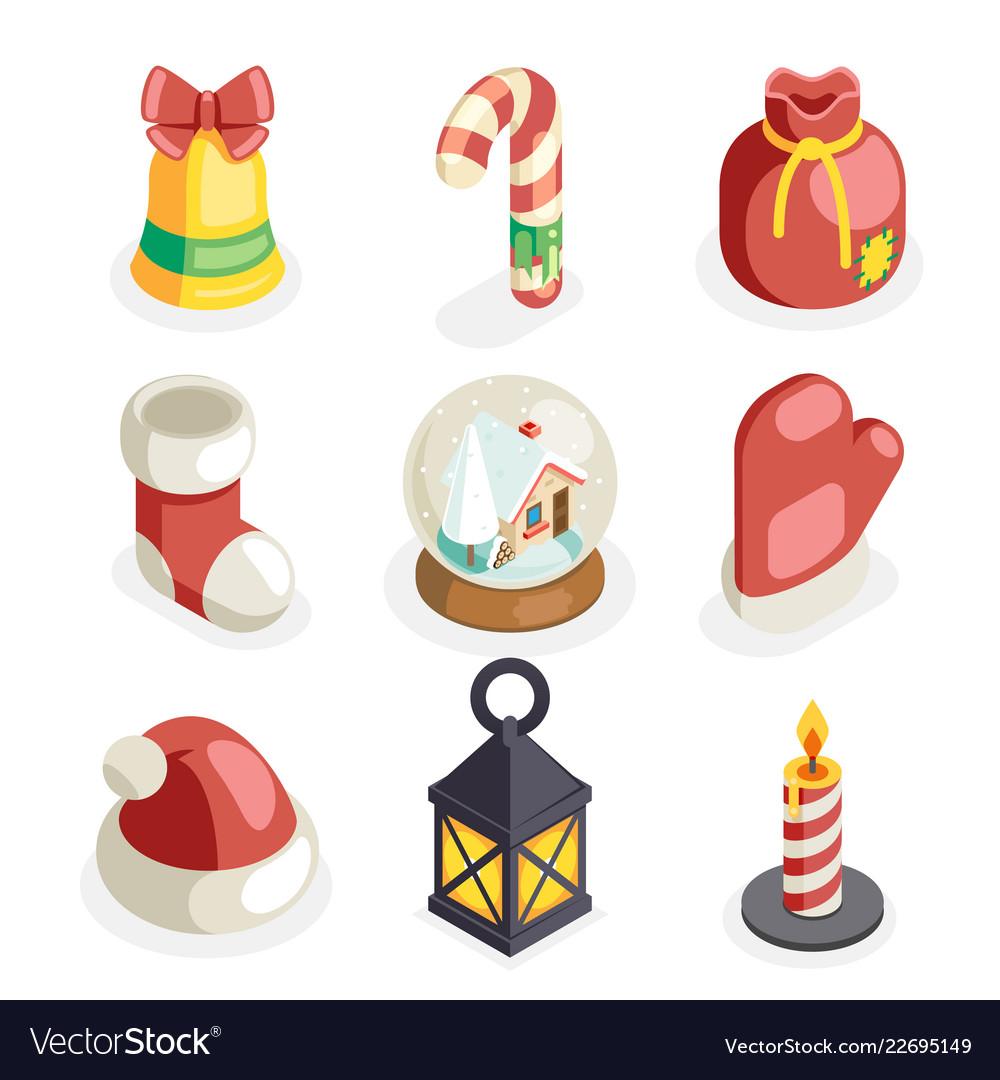 Christmas isometric 3d icons set flat cartoon
