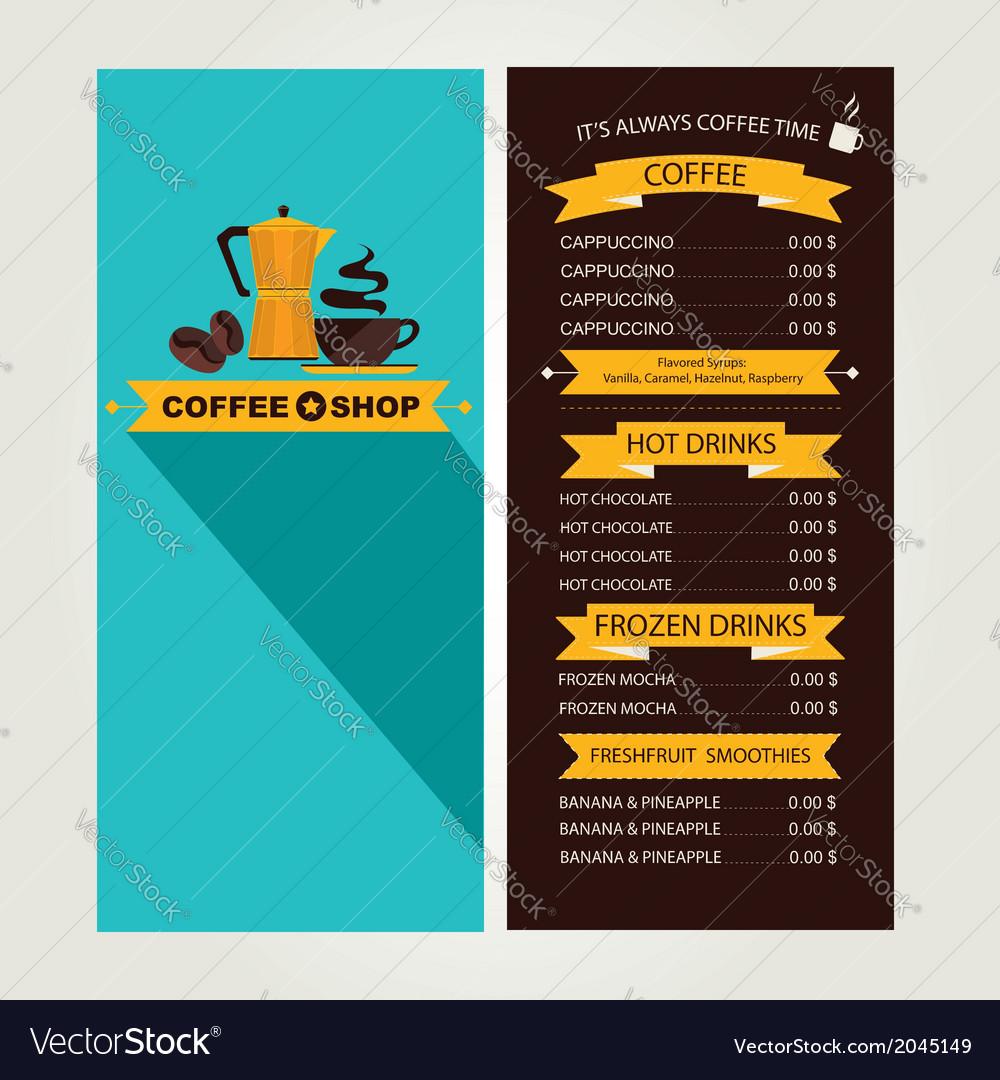 Coffee house menu restaurant template design