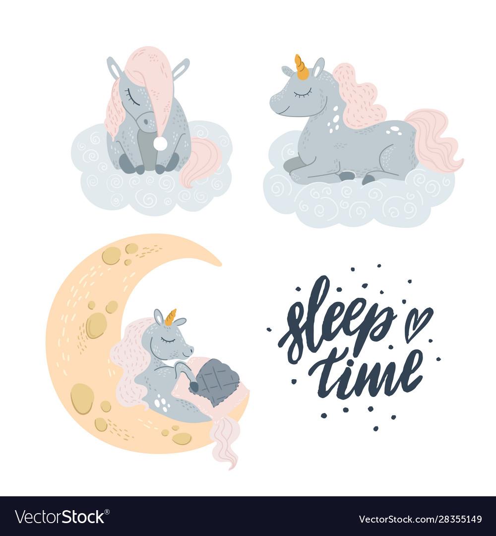 Cute unicorn sleeping at cloud in hat