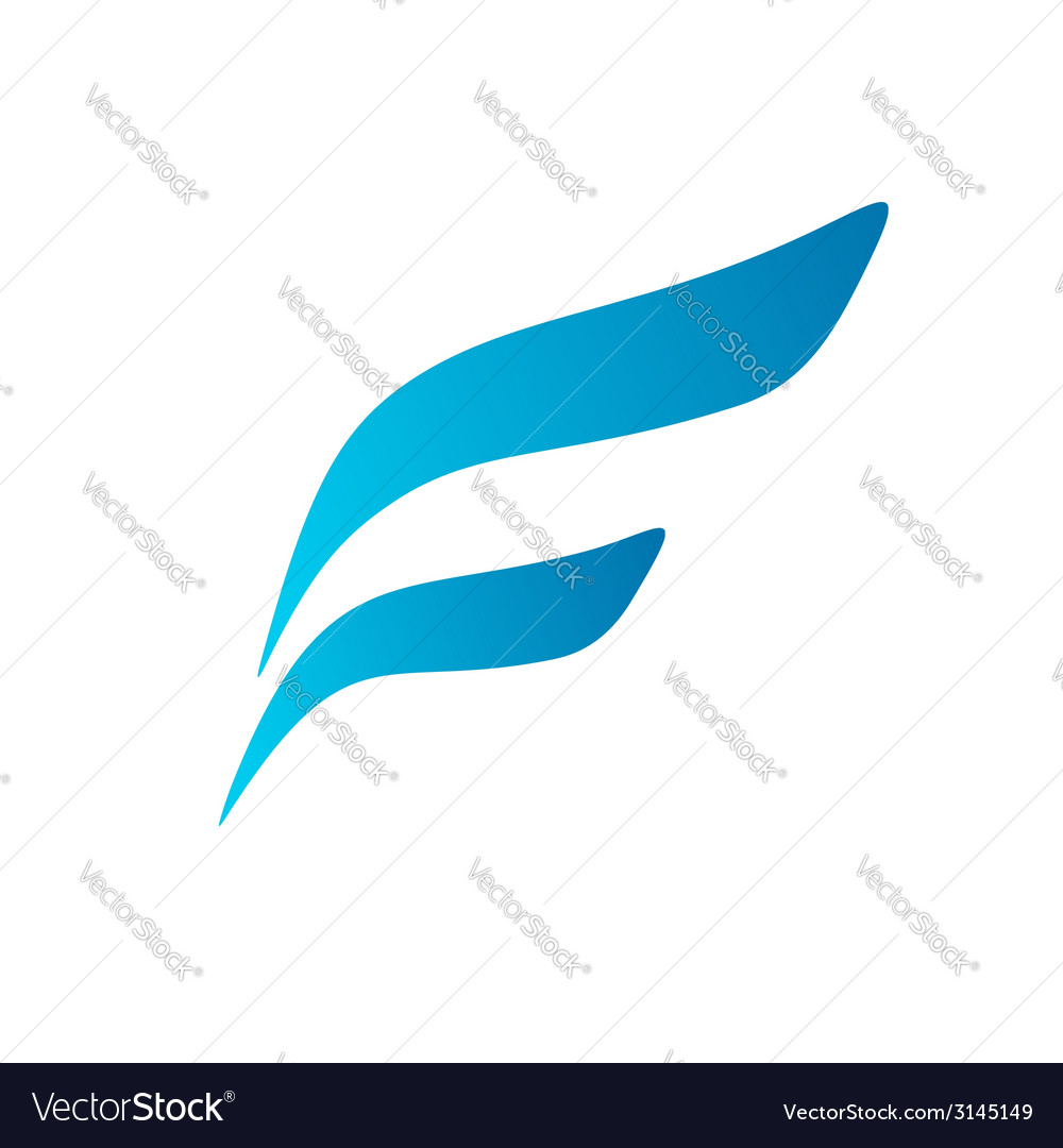 Letter F wing flag logo icon design template