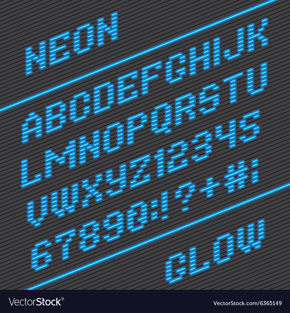 Lightbulb alphabet font and numbers vector image
