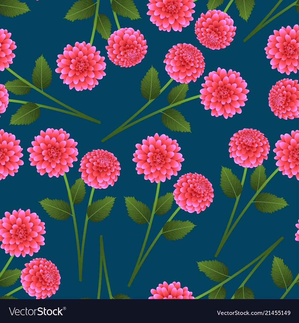 Pink Dahlia On Indigo Blue Background Royalty Free Vector