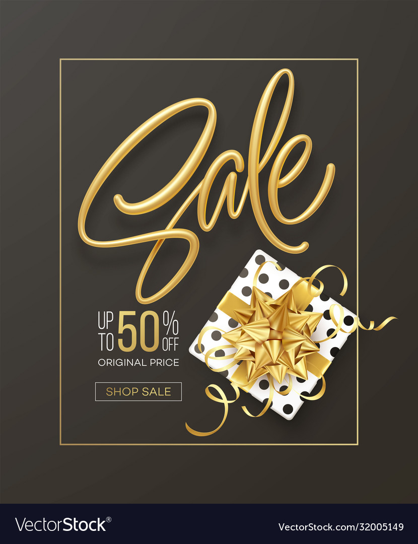Realistic metallic gold inscription sale on the