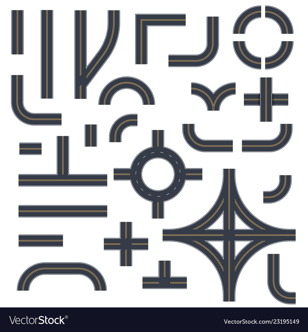 Roads highways street elements templates set