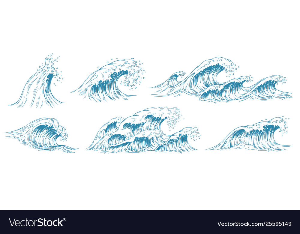 Sea waves sketch storm wave vintage tide and