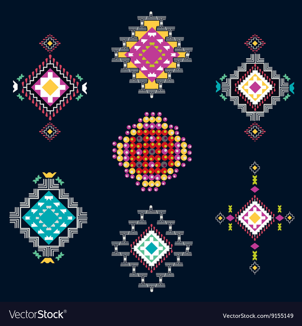 Set of decorative ethnic american
