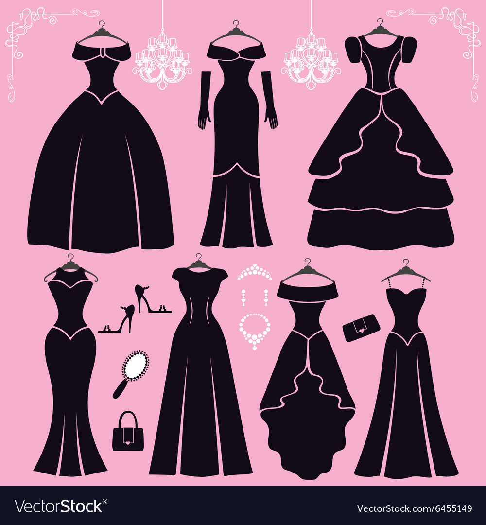 Silhouette of black party dressesaccessories
