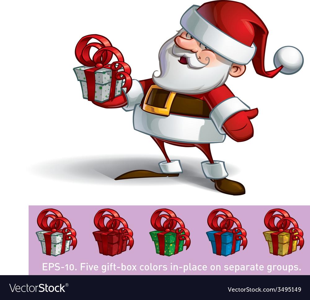 Smilling Santa Holding a Present
