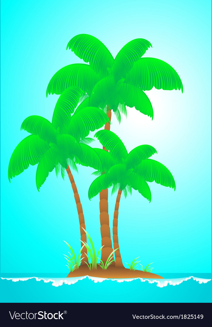 Tropical landscape with island wave sun and palm