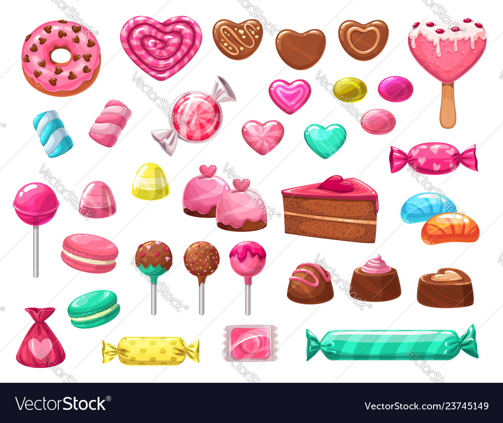 Valentines day heart candies sweets and cakes