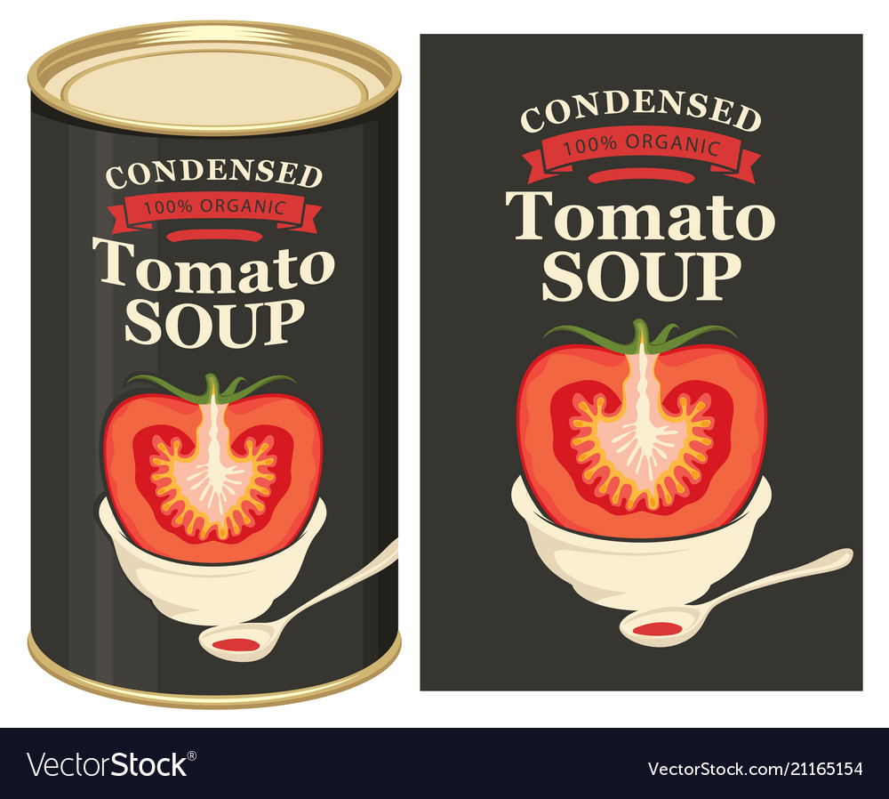 A tin can with label tomato soup