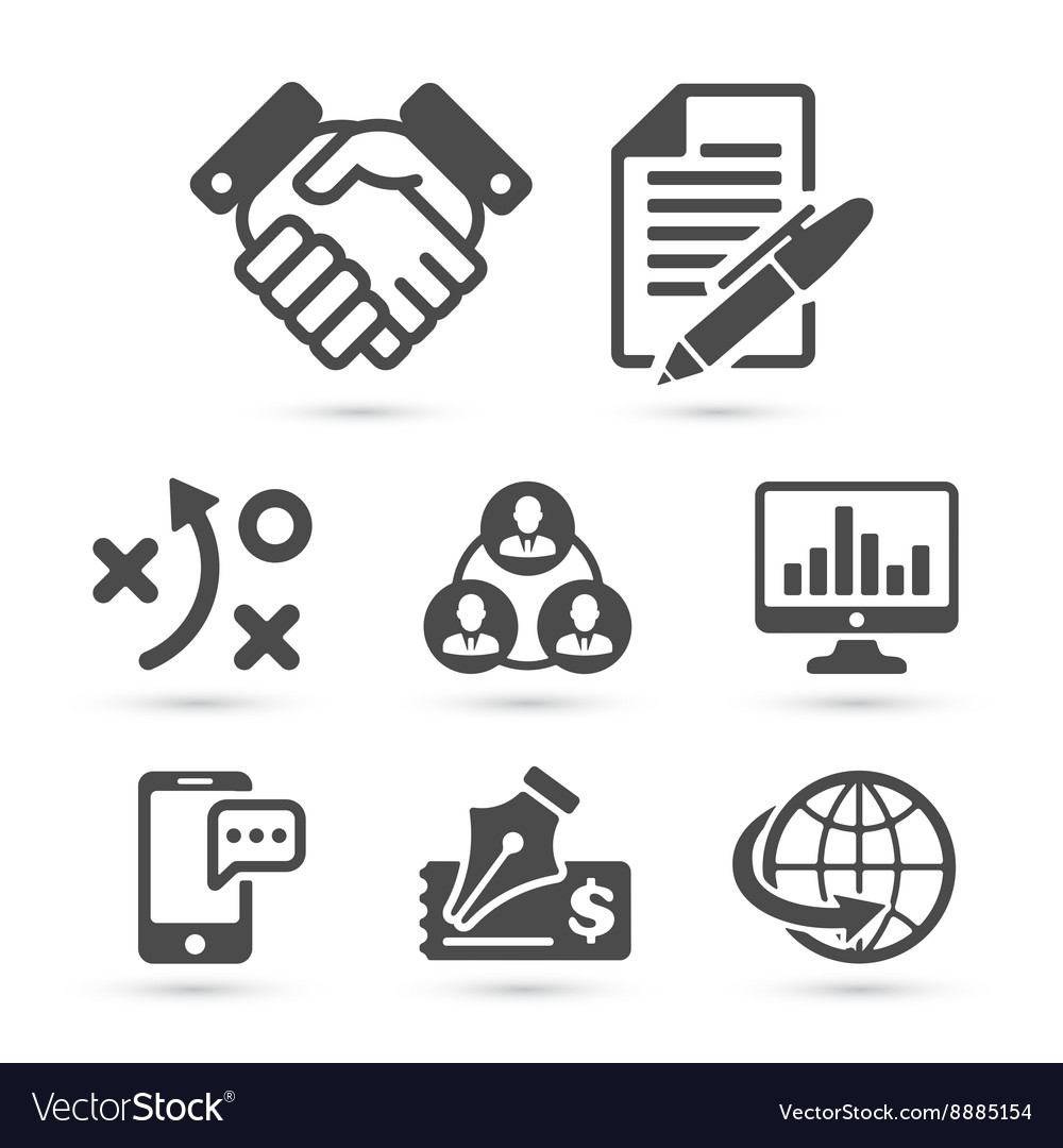 Business finance icons isolated on white