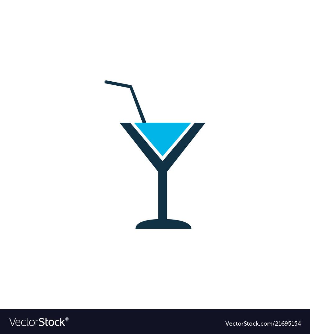 Cocktail icon colored symbol premium quality