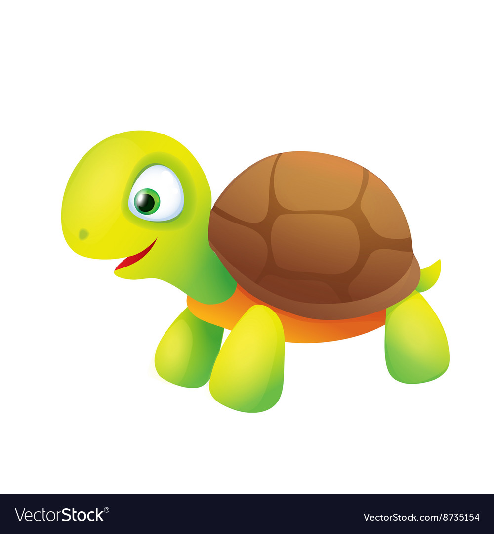 Cute Cartoon Turtle Smiling