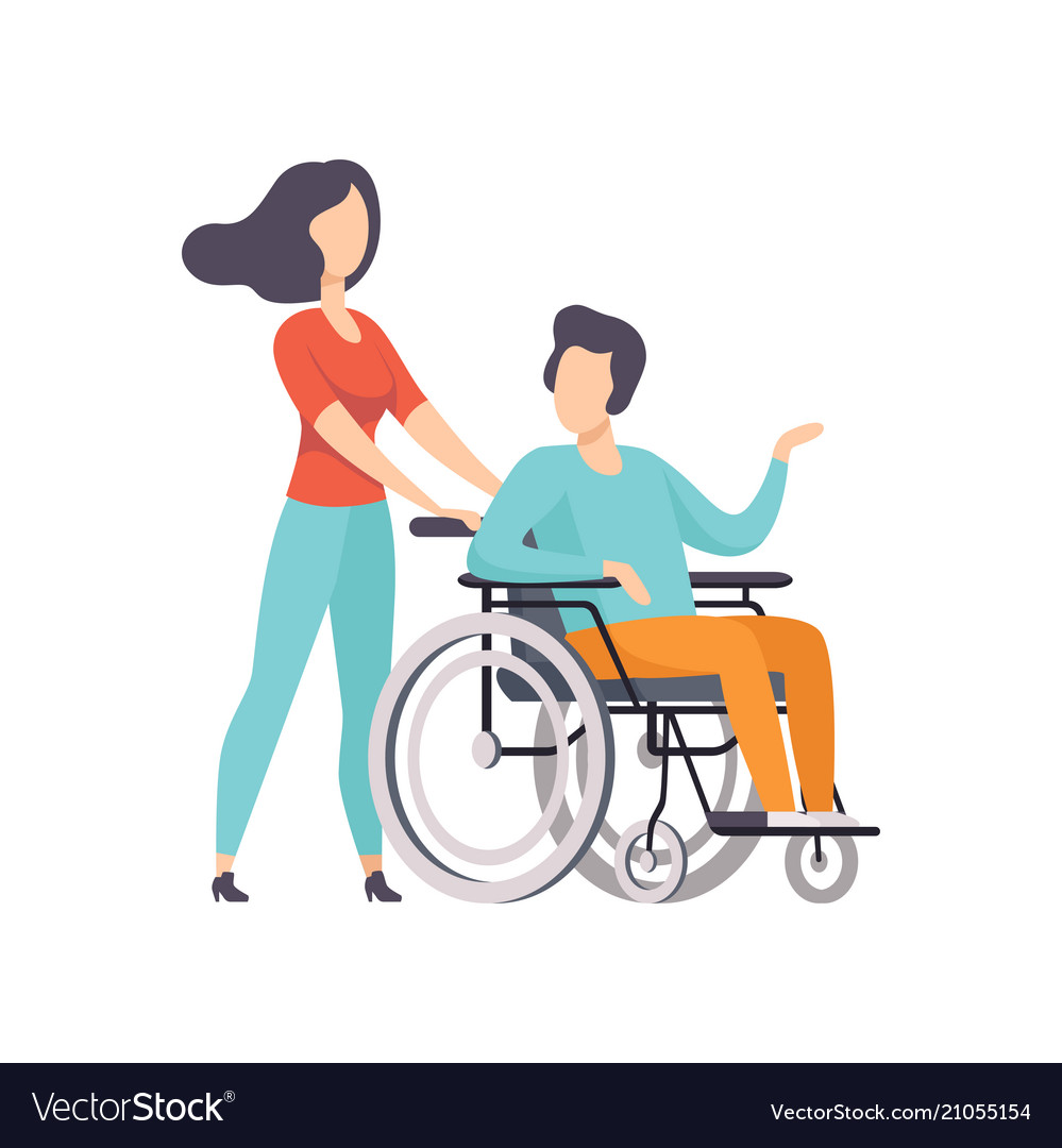 Girl Pushing Wheelchair With Disabled Man Girl Vector Image