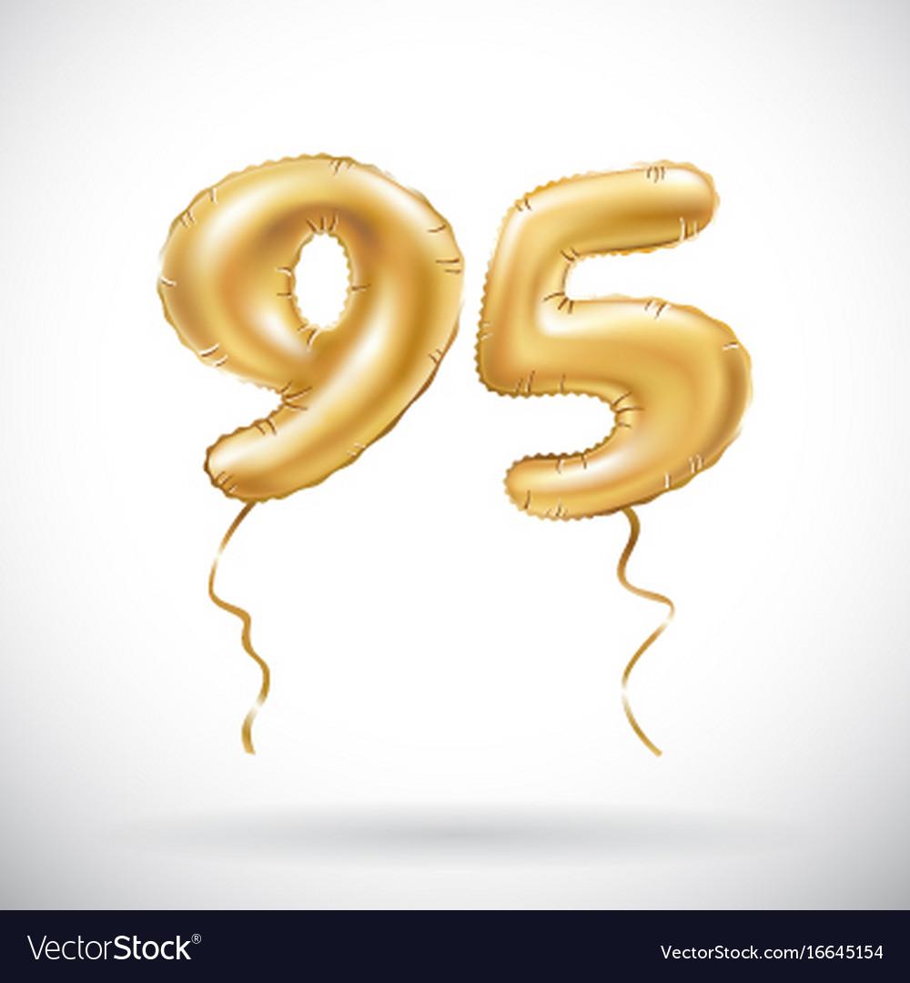 Golden number 95 ninety five metallic balloon vector image