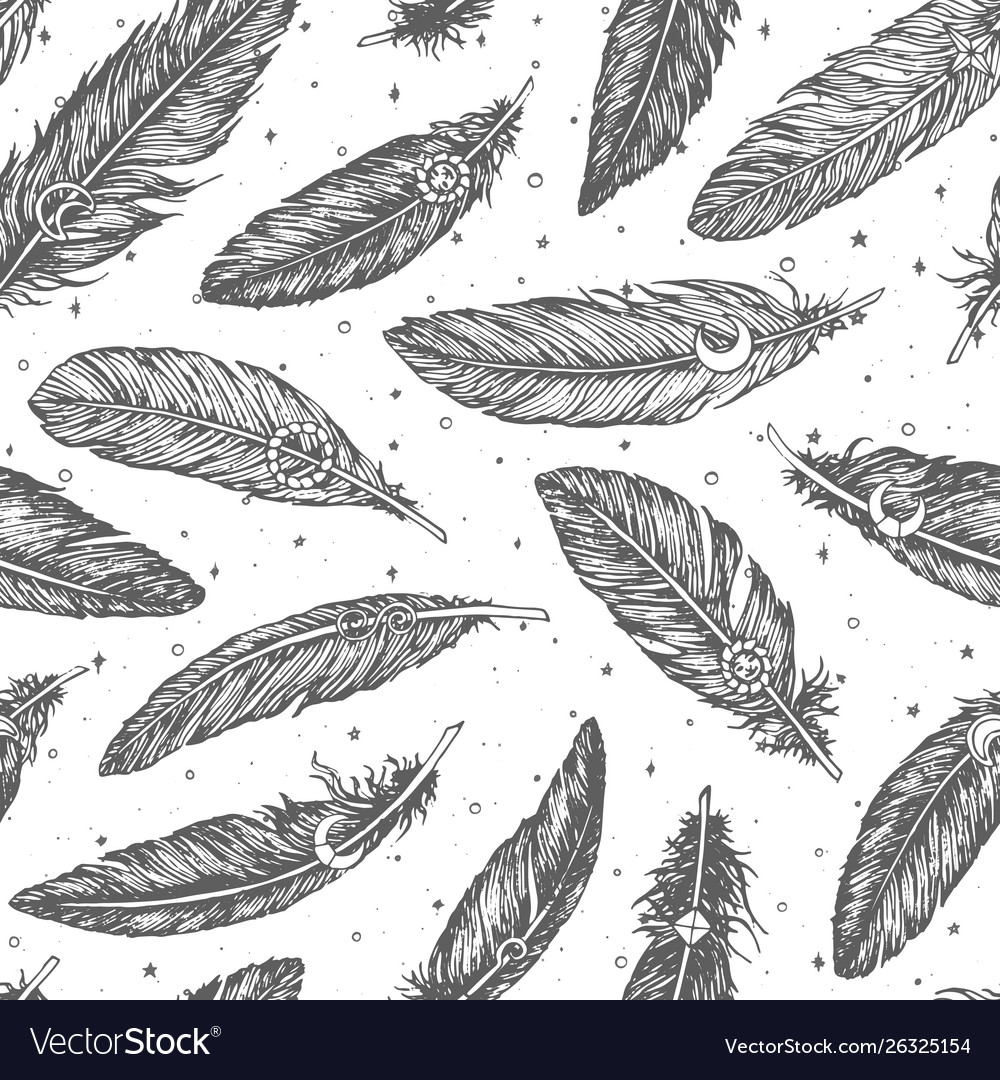 Hand drawn pattern with detailed boho feathers