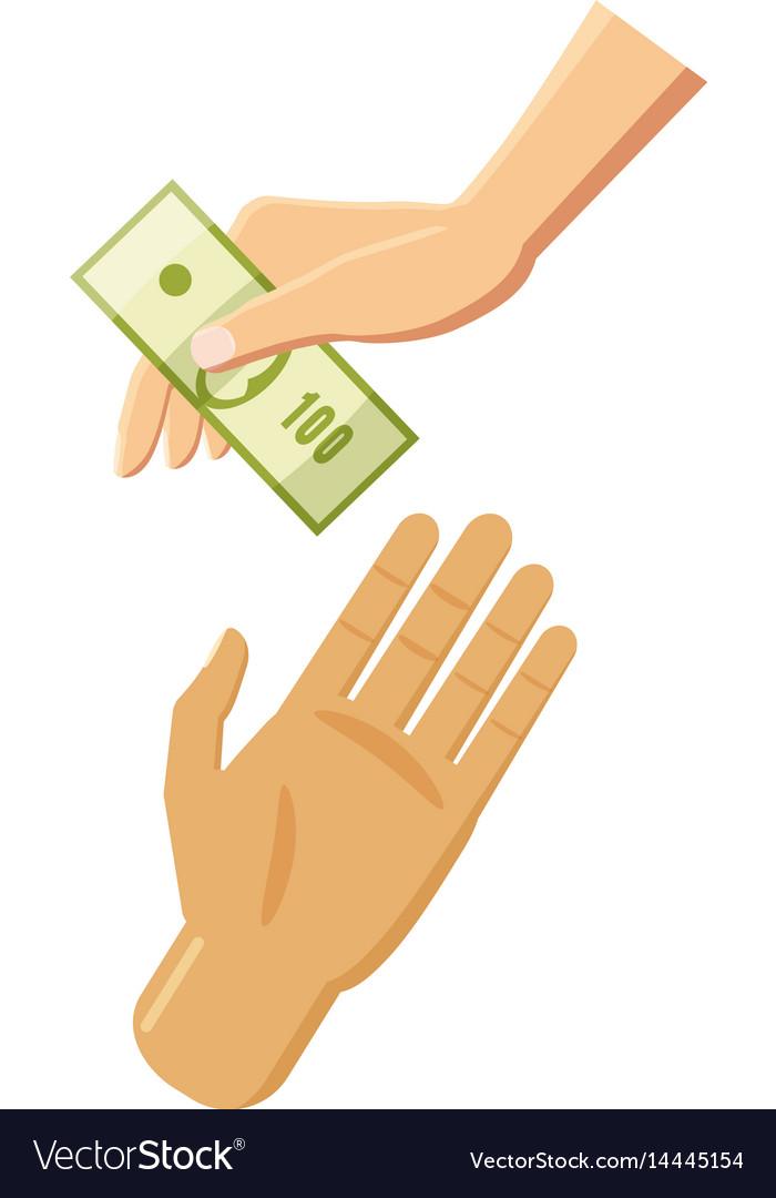 Hand giving money icon cartoon style