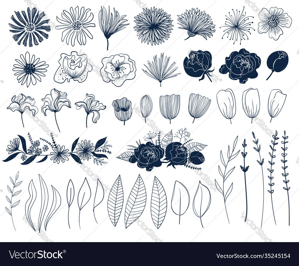 Line art set isolated flowers