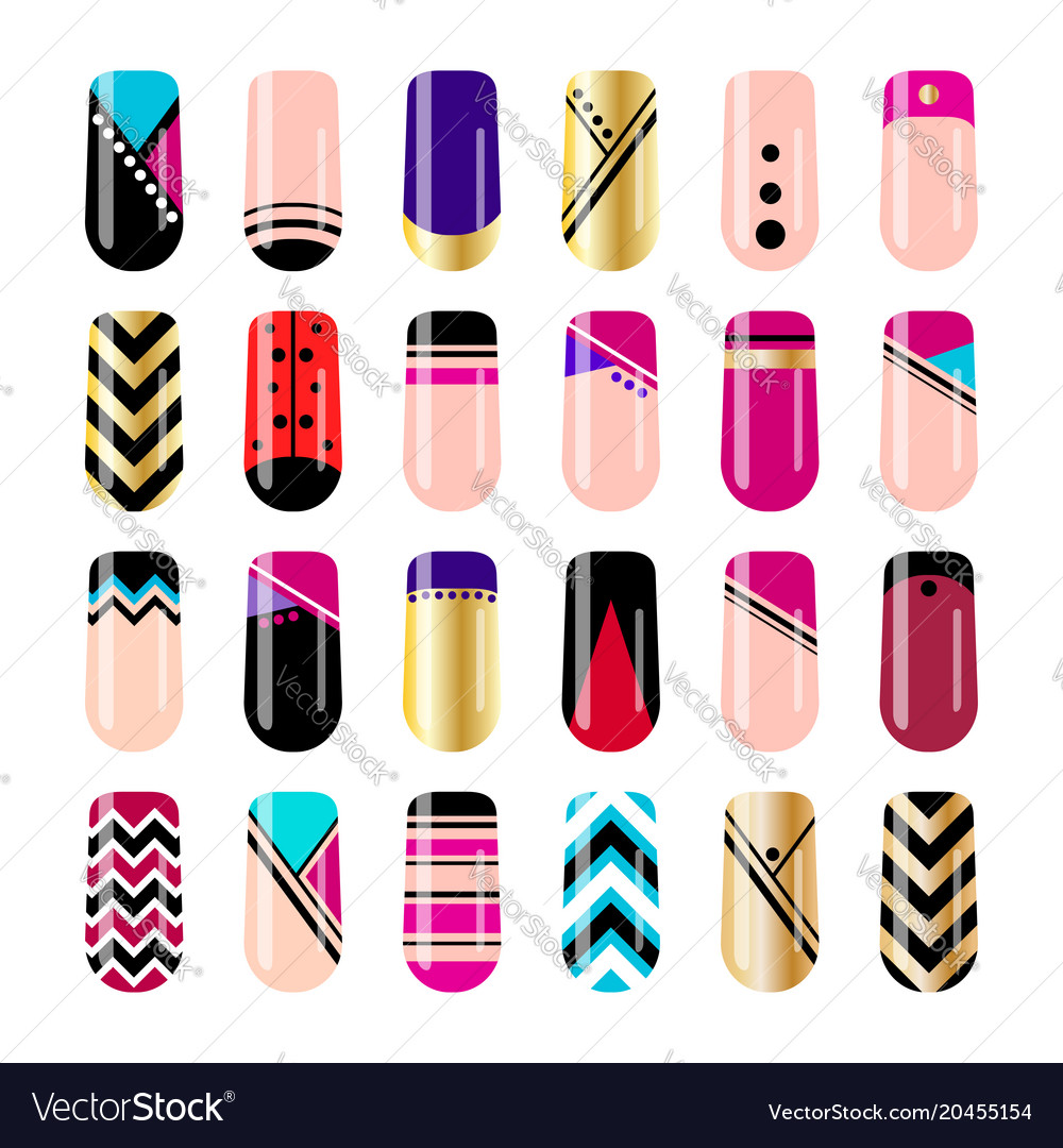 Nail art design geometric nail stickers template Vector Image