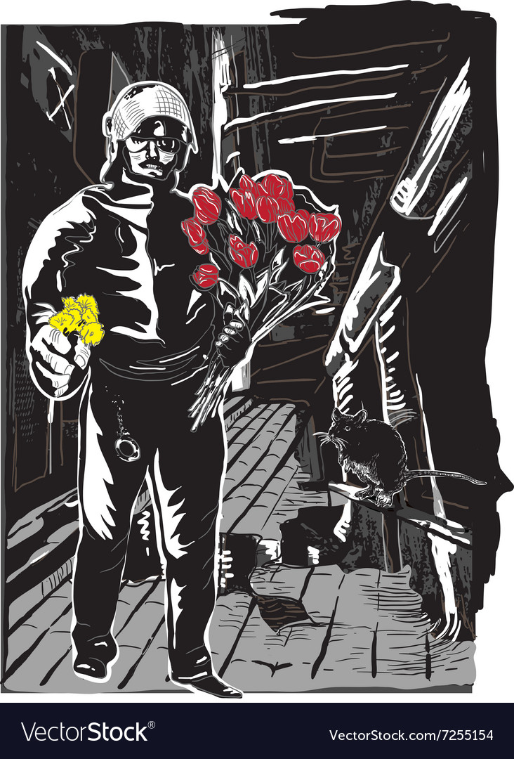 Policeman with flowers gentle hero on the street