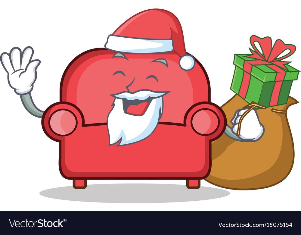 Merveilleux Santa Red Sofa Character Cartoon Vector Image