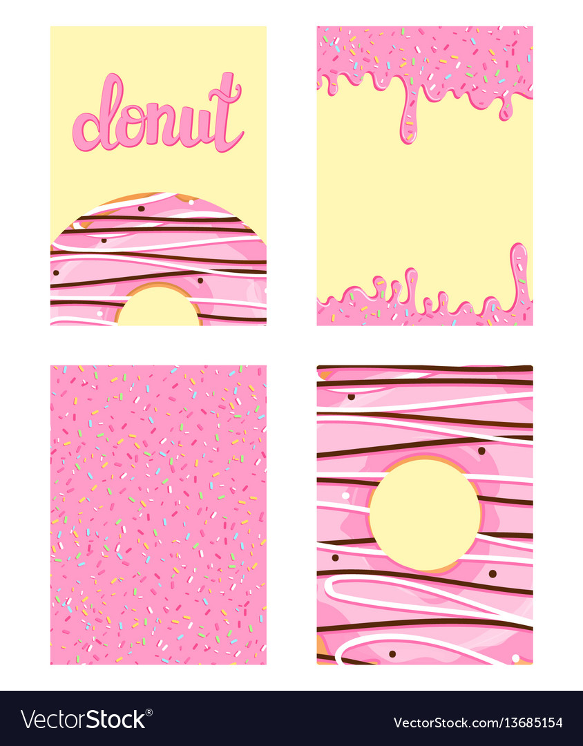 Set of bright food cards set of donuts with pink