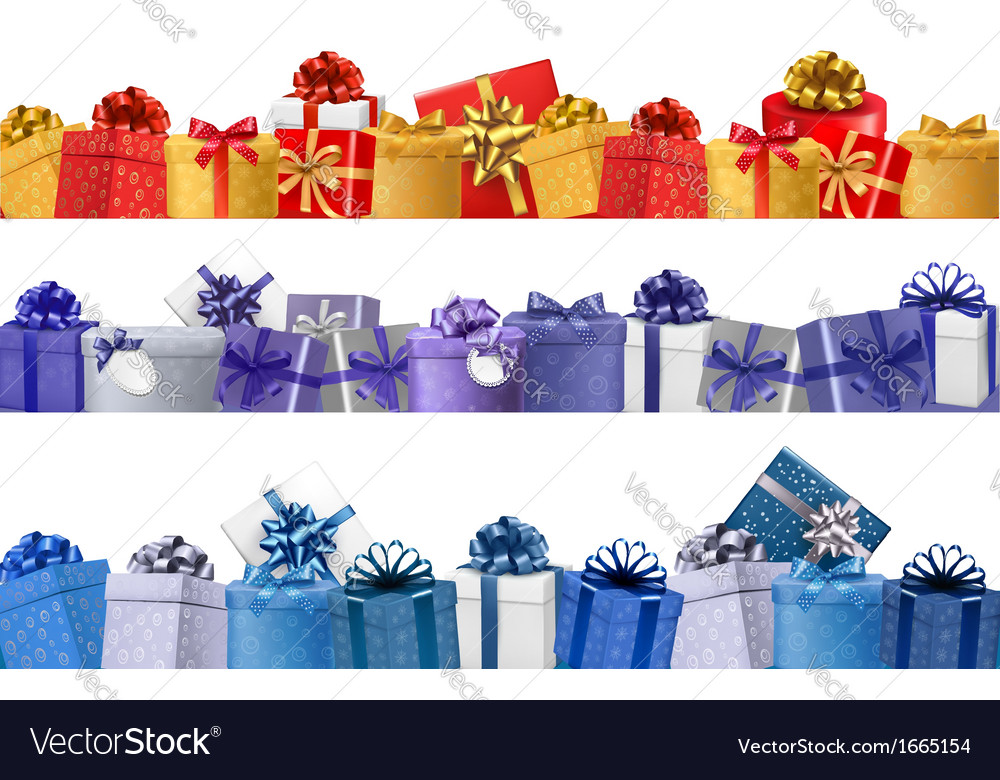 Set of shopping banners with gift colorful boxes