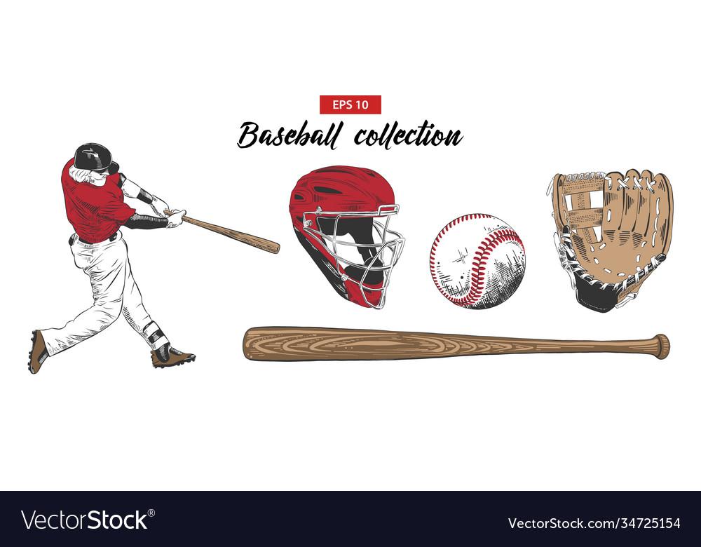 Sketch set baseball player helmet glove ball