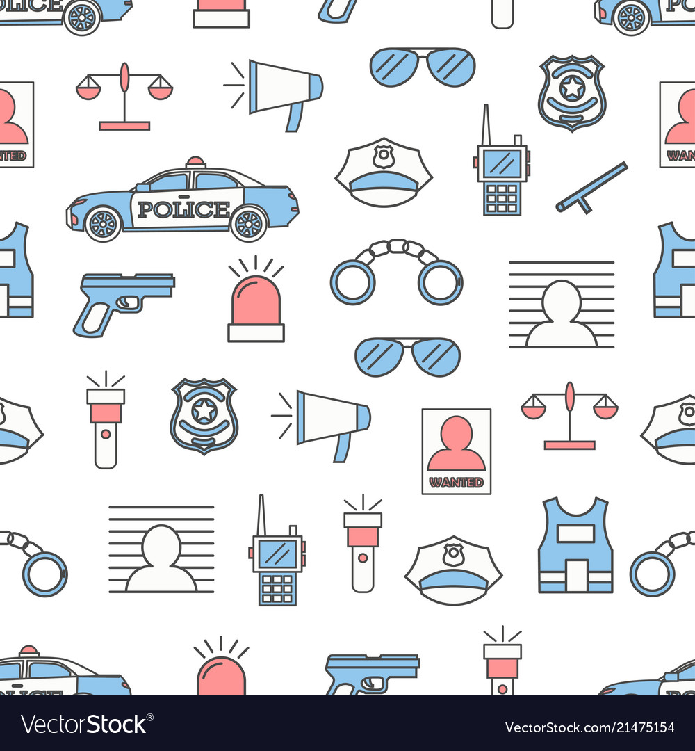 Thin line art police seamless pattern