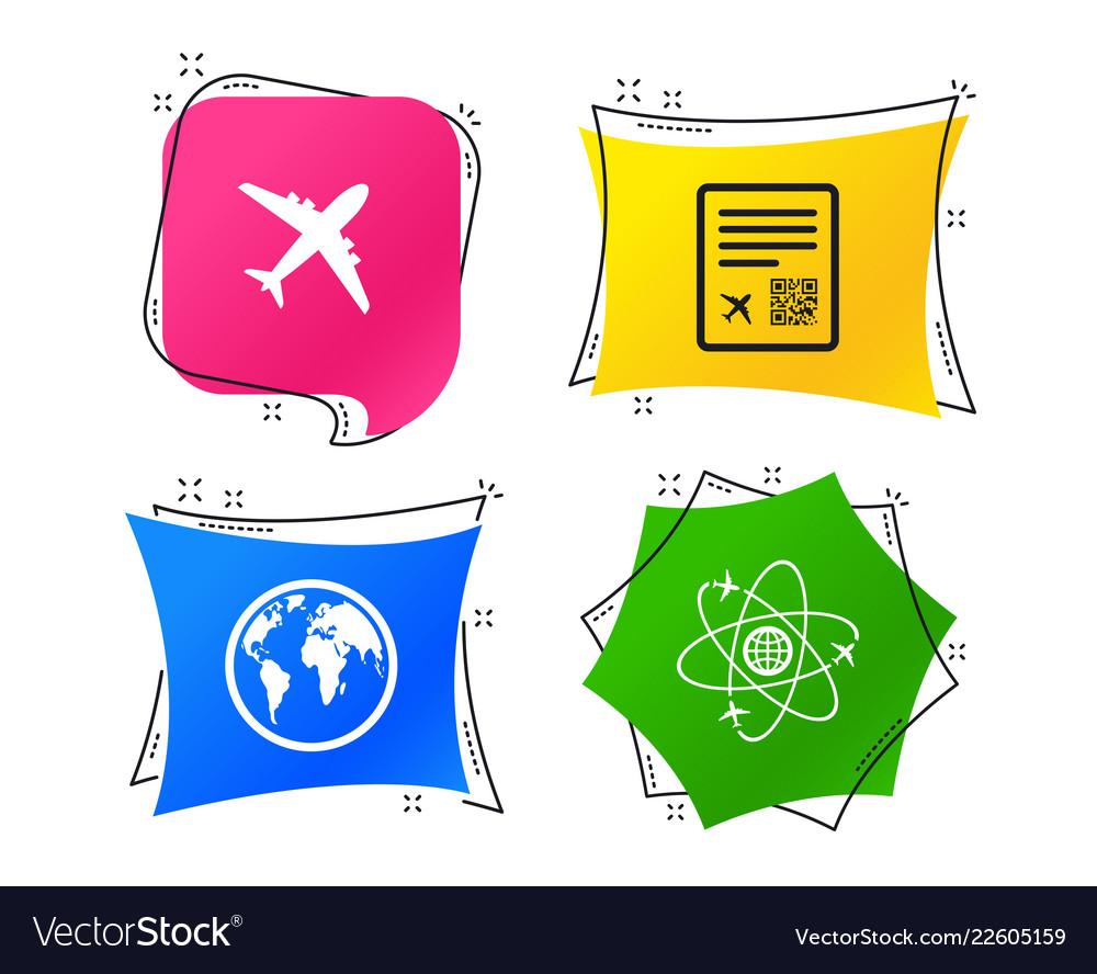 Airplane icons world globe symbol