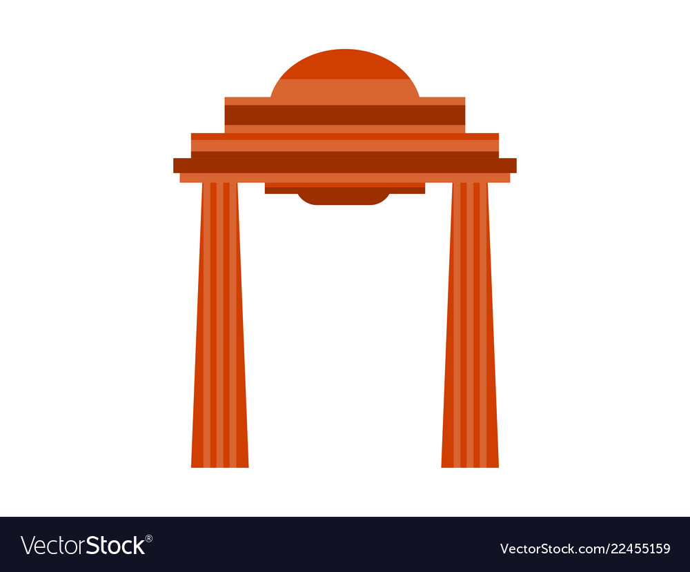 Ancient gate with columns in flat style on a