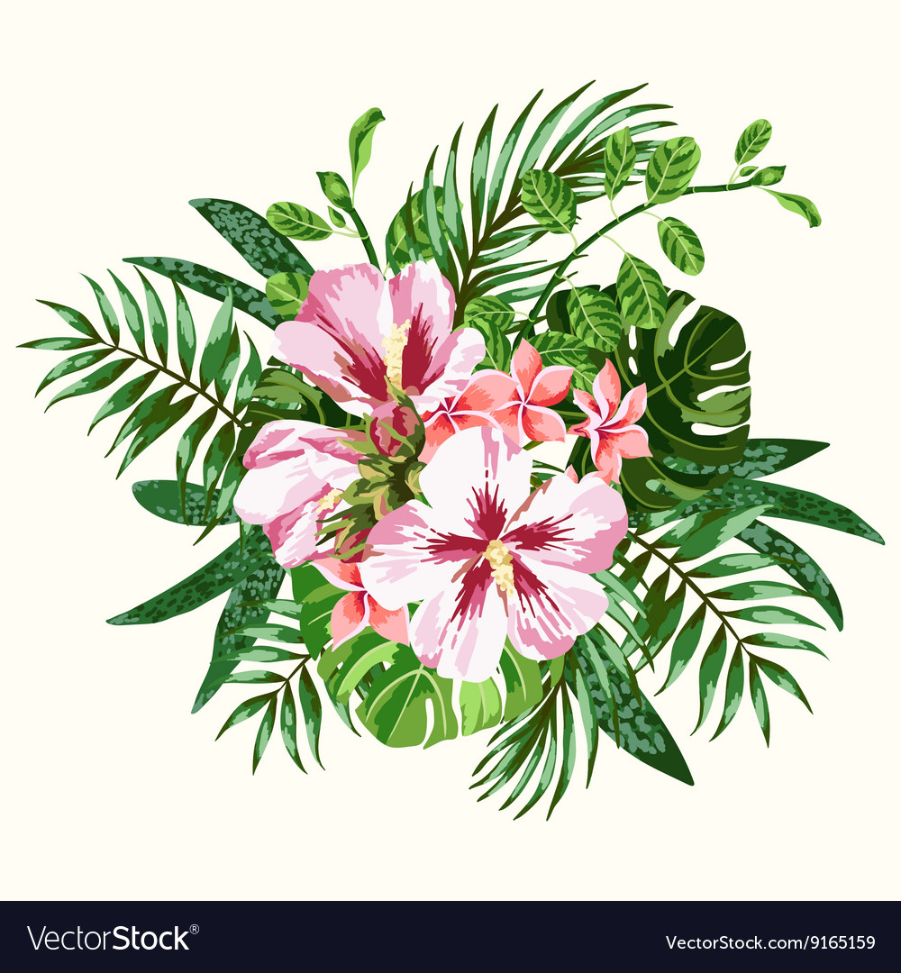 Bouquet of tropical flowers and leaves royalty free vector bouquet of tropical flowers and leaves vector image izmirmasajfo