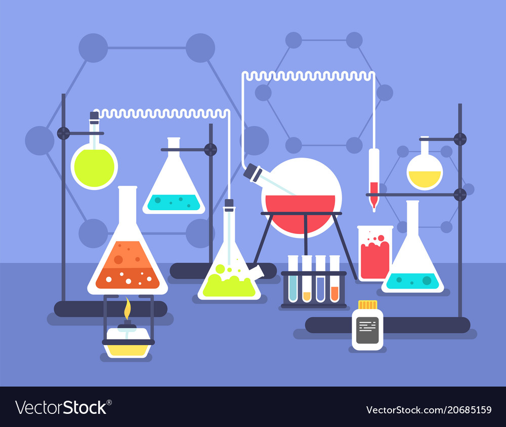 Chemistry laboratory experiment research lab vector image