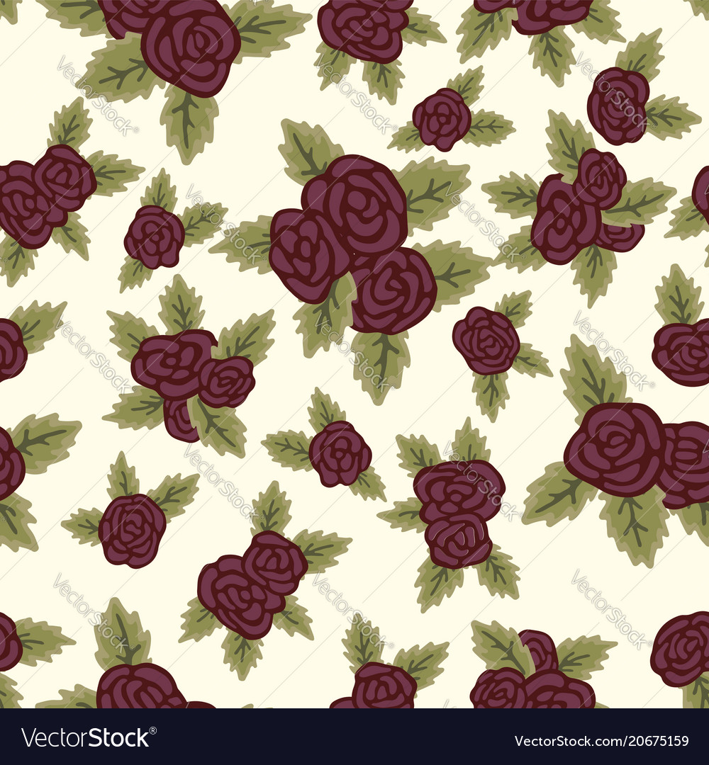 Colorful seamless pattern red roses on light