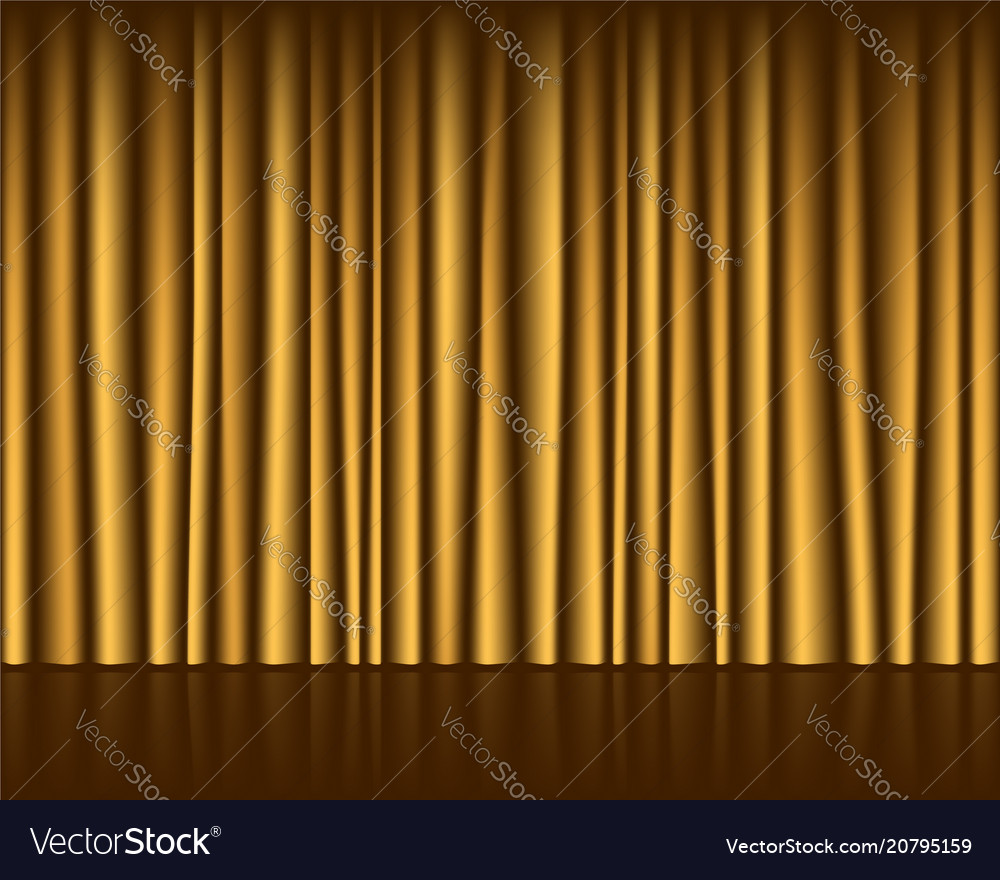 Gold empty stage with curtain seamless template