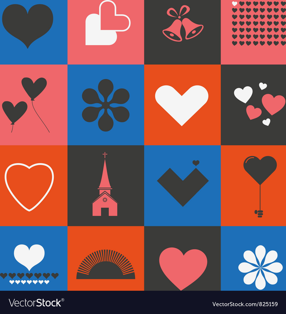 Hearts and valentines symbols vector image