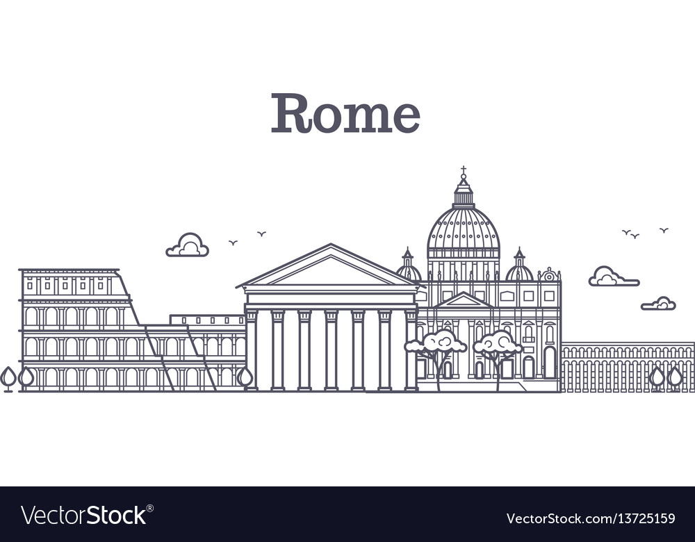 Italy rome architecture europe skyline vector image