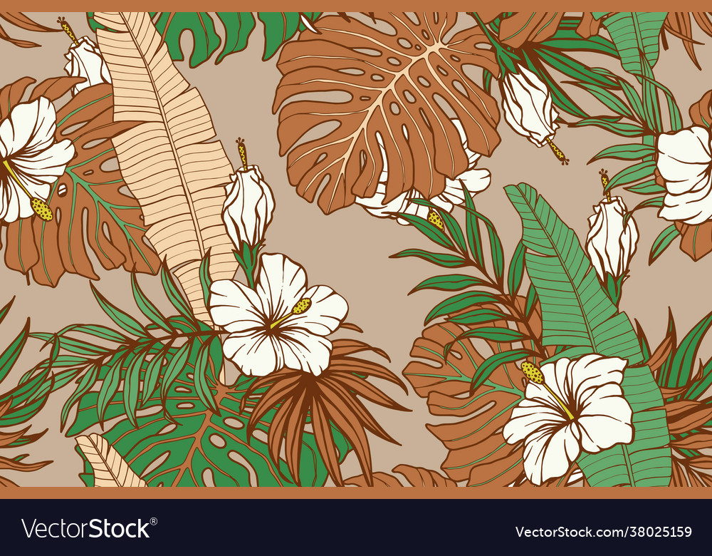 Modern exotic seamless pattern tropical green